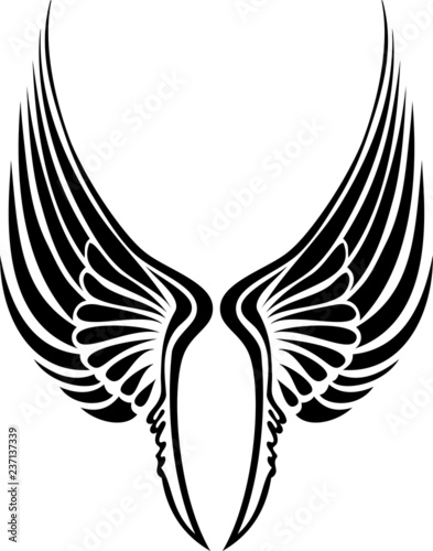 2c148bf00034a Wing vector silhouette. Creative tribal tattoo wings.
