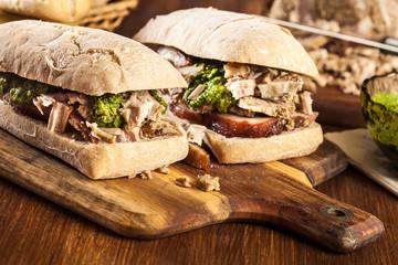 Photo sur Aluminium Snack Italian porchetta sandwich