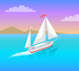 Yacht with White Canvas Sailing in Deep Waters