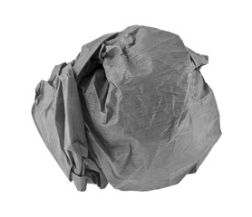 lump of crumpled gray paper isolated on white background