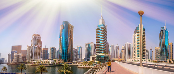 Foto op Canvas Purper General view of Dubai Marina. Line of the city skyline.
