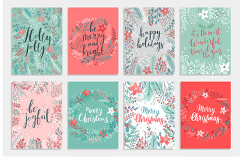 Wall Mural - Christmas Callygraphic card set - hand drawn floral
