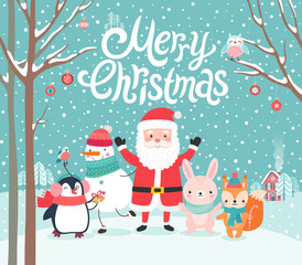 Wall Mural - Cute characters hugging - Santa Claus, squirrel, rabbit, penguin and snowman. Merry Christmas card.
