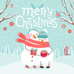 Wall Mural - Cute snowmen couple hugging. Merry Christmas card.