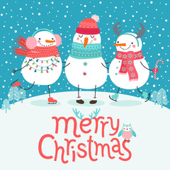 Wall Mural - Cute snowmen hugging. Merry Christmas card.
