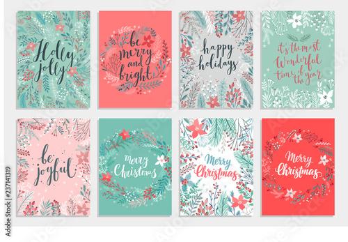 Wall mural Christmas Callygraphic card set - hand drawn floral