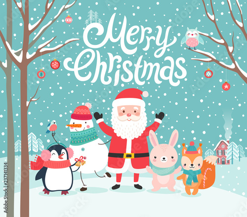 Wall mural Cute characters hugging - Santa Claus, squirrel, rabbit, penguin and snowman. Merry Christmas card.