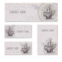 Old caravel, vintage sailboat. Sea adventure vector background. Doodles design elements business cards, banners, menu