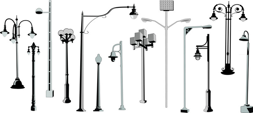 Set of retro and modern street lamps vector silhouettes. Urban street lights collection.