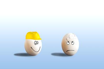 Ei mit Helm Arbeitsunfall