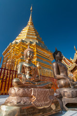 Buddha statues and chedi of the Wat Phra That Doi Suthep in Chiang Mai, Thailand, Asia.