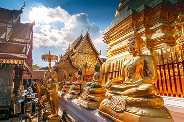 Line of Golden Buddhas at Wat Phrathat Doi Suthep Chiang Mai Thailand.