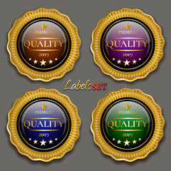 Set of colored badges with gold framing on gray background. Golden insignia. Golden badges. Vector illustration
