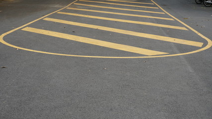 No parking sign in yellow colored line on street