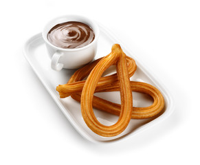 churros with chocolate cup