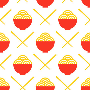 Egg Noodles and chopsticks vector seamless pattern. Asian food print isolated
