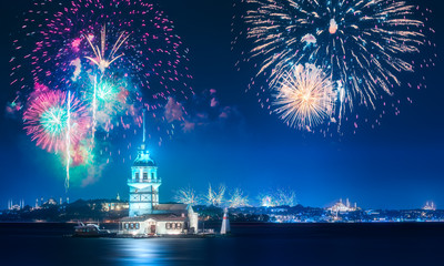 Beautiful fireworks above Maiden Tower in Bosphorus strait Istanbul, Turkey