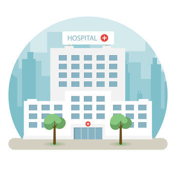 Hospital building in a big city. Flat design