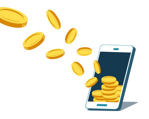 Vector smartphone attracting money coins