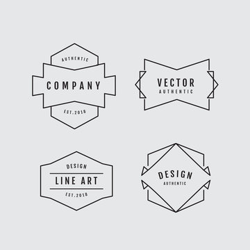 Linear thin line badge logo geometric shape retro design elements vector