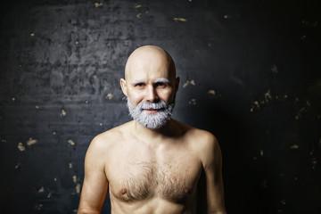 brutal bald bearded man / studio isolate, photo guy with a gray beard, bald head