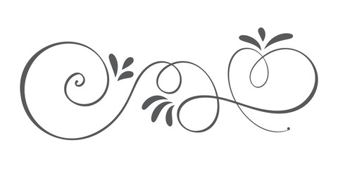 Vector Hand Drawn Calligraphic Spring Flourish Design Elements. Floral light style decor for web, wedding and print. Isolated on white background Calligraphy and lettering illustration Wall mural