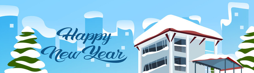 happy new year merry christmas holidays concept winter snow covered house cityscape background flat horizontal