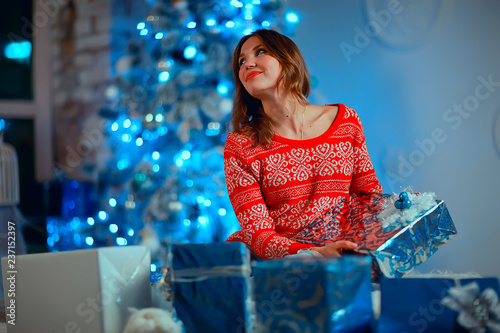 girl with christmas gifts adult / young adult girl, model in new ...