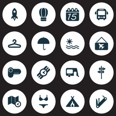 Trip icons set with pointers, map with time, picture airplane and other umbrella