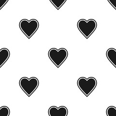 Valentine's Day seamless pattern with black hearts on white background
