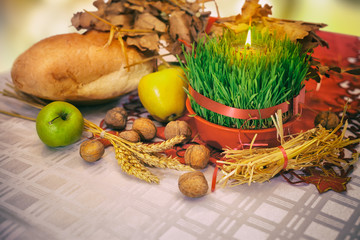 Table with Christmas decoration. Christmas offerings.