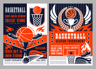 Sport tournament in basketball announcement poster