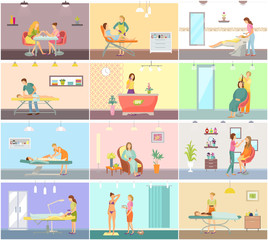 Spa Salon Manicure and Barber Vector Posters Set