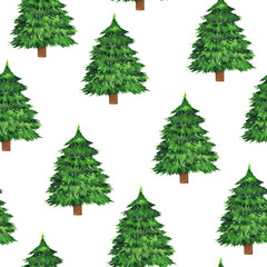 Seamless pattern with green pine trees on white background. Hand drawn watercolor illustration.