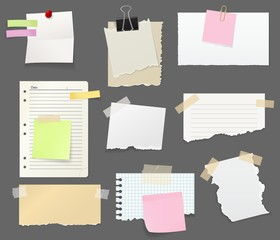 Paper sheet pieces for notes and reminders vector