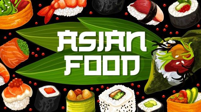 Japan cuisine food poster. Vector sushi menu