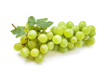 Ripe sweet grapes on white background