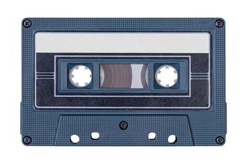 Retro black audio tape isolated on white background.