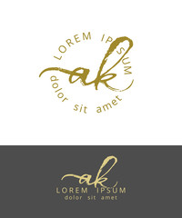 A K. Initials Monogram Logo Design. Dry Brush Calligraphy Artwork
