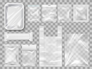 Plastick package, packs and containers. Vector