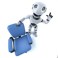 3d Funny cartoon robot character standing next to an empty office chair