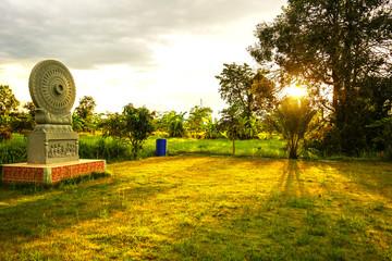 dharmachakra in the garden