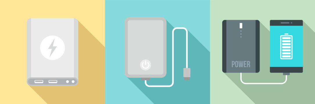 Power bank icon set. Flat set of power bank vector icons for web design