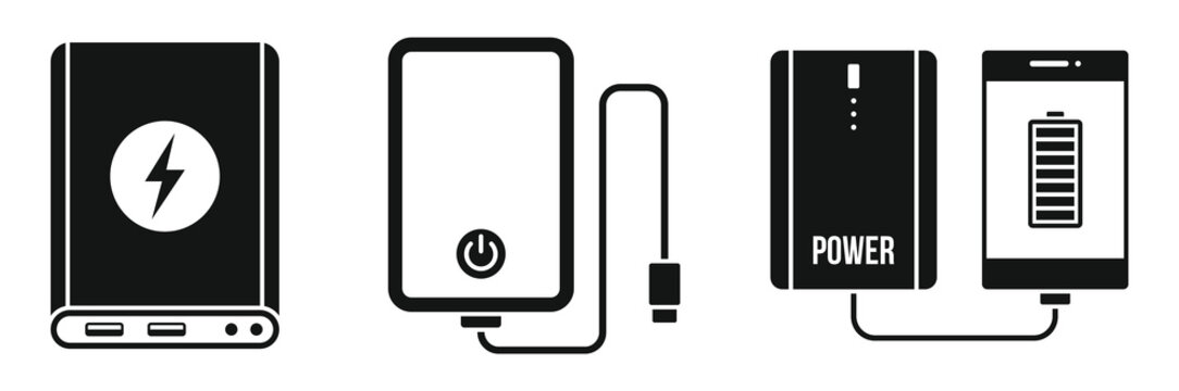 Charger power bank icon set. Simple set of charger power bank vector icons for web design on white background