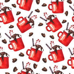 Seamless pattern with red cocoa cups and chocolate drops on white background. Hand drawn watercolor illustration.