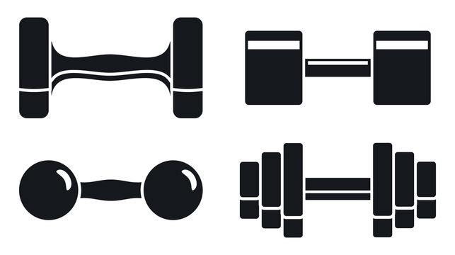 Gym dumbell icon set. Simple set of gym dumbell vector icons for web design on white background
