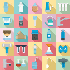 Filter water icon set. Flat set of filter water vector icons for web design