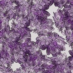 Seamless background. Beautiful flowers. Chrysanthemums.Stylization: watercolor.