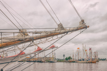 Sailboats in the port of Riga