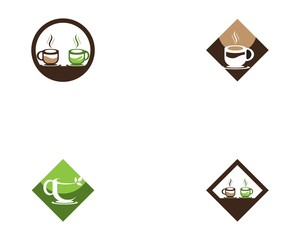 Coffee and green tea cup logo template